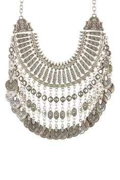 Textured Coin Drop Bib Necklace by Chanour Jewelry on @HauteLook