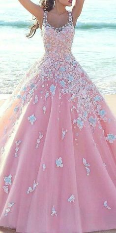 New Arrival Prom Dress,Modest Prom Dress,pink prom dresses,pink Blue Flower Dress, Pink Dress, 15 Dresses, Formal Dresses, Wedding Dresses, Evening Dresses, Blue Roses, Pastel Roses, Beautiful Gowns