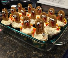 Thanksgiving turkey cupcakes--some didn't fare so well as they had survived a few trips in the car but most of them made it :)