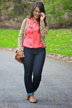 05de879dd223 Casual Friday office outfit leopard print coral skinny jeans Casual Friday  Office