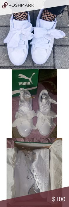 Puma Basket Heart NWT Size 8.5 Patent white  Easy to clean! 2 pairs of laces: 1 cloth and 1 silky Inside sole has puma logo in black and white. Super cute with anything! Puma Shoes Sneakers