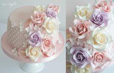 Birthday cake with cascading sugar flowers - Cake by Sugar Ruffles