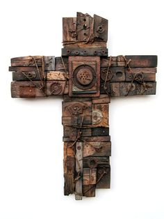 Jesus Was Poor No. 4 - Found object assemblage, Chad Davis Cross Art, Les Religions, Found Object Art, Assemblage Art, Mixed Media Art, Mix Media, Art Abstrait, Altered Art, Collage Art