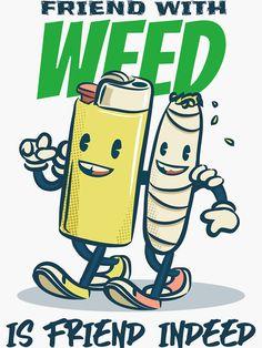 'Friend with Weed is Friend Indeed' Sticker by Crapt Retro Cartoons, Vintage Cartoon, Cartoon Art, Classic Cartoons, Cannabis, Marijuana Art, Hipster Illustration, Character Illustration, Badge Design