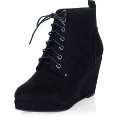 Black Suedette Lace Up Wedge Ankle Boots ($33) ❤ liked on Polyvore featuring shoes, boots, ankle booties, heels, short black boots, black lace up booties, black wedge bootie, lace up booties and wedge heel booties