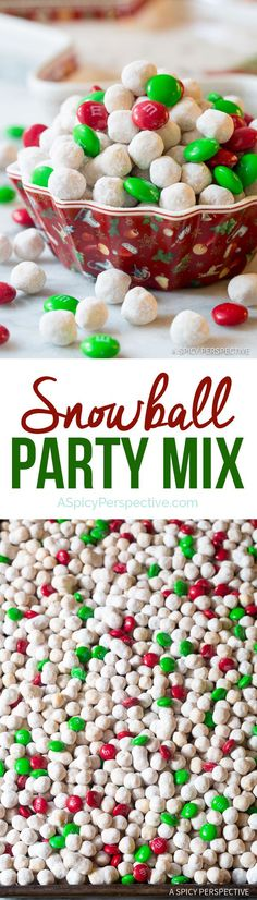 Snowball Party Mix Recipe, a fun and festive holiday snack mix that makes a marvelous edible gift idea! Made with Christmas M&Ms, Kix cereal, cinnamon, Christmas Food Treats, Holiday Snacks, Christmas Sweets, Christmas Cooking, Christmas Goodies, Holiday Recipes, Christmas Recipes, Christmas Candy, Party Snacks