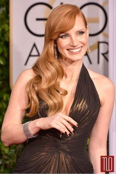 """WOW. As TLo said """"that head is WITHOUT FLAW"""" Jessica Chastain, 2015 Golden Globe Awards 