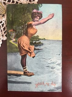 "Vintage 1900s Edwardian Era Risque Beach Side Beauties Unused Postcard - ""Watch me dive"""