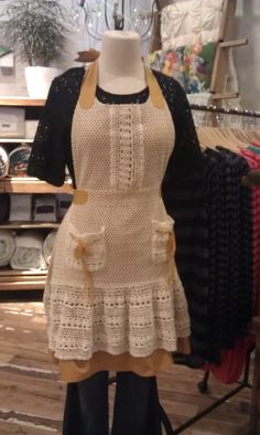 I love this crochet apron!!  #Anthropologie