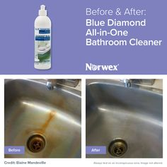 Remove hard water deposits, rust, soap scum, and more on your kitchen sink with the natural Norwex Blue Diamond!