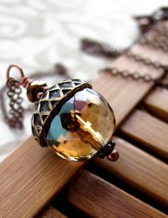 Vintage Style Acorn Necklace - Honey Faceted Glass Acorn Pendant, Antiqued Copper Chain, Gift for Gardener, Gift for Nature Lover. $38.00, via Etsy.