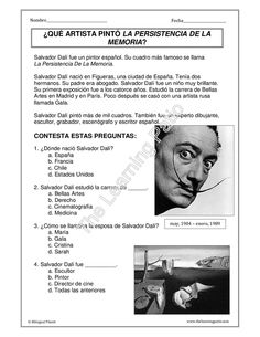 *Biografías - C.E: Salvador Dalí *idea for culture worksheet while I am gone Spanish Colors, Spanish Art, Spanish Culture, Spanish Lessons, How To Speak Spanish, Learn Spanish, Spanish Teacher, Spanish Classroom, Teaching Spanish