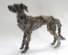 Scottish Deerhound made from recycled Tartans, Linen and Tweed