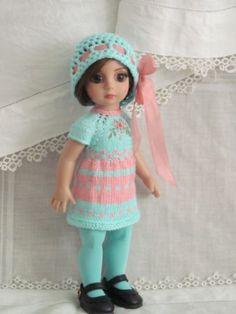 "Patsy Anne Estelle Tonner 10"" OOAK hand knit aqua and pink dress set by JEC"