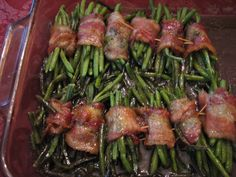 Green Been Bundles. ingredients: 24 ounces green beans, (can be fresh, canned or froze-I used frozen) 1/2-1 pound bacon, cut into halves 1 stick butter, melted 1/2 cup brown sugar 1/4 cup soy sauce 1 teaspoon garlic powder