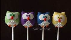 Colorful owl cake pops