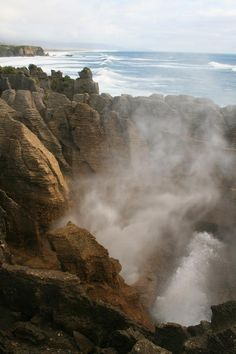 Punakaiki, West Coast, South Island, New Zealand.  It's also called Pancake Rocks as the limestone rock formations resemble layers of pancakes.