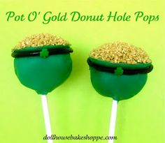 Pot O'Gold Donut Hole Pops - no bake, step by step tutorial to make these St. Patrick's Day treats (from Dollhouse Bake Shoppe)