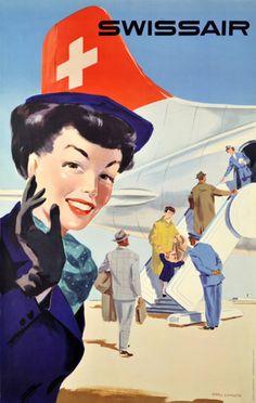 Swissair Stewardess Switzerland 1953 - Mad Men Art: The 1891-1970 Vintage…