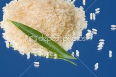 Food Ingredients - White rice on blue background.  Keywords: Agriculture, Asiatica, Blue, Cereali, Chicchi, Chinese, Closeup, Detail, Di Raccolta, Diet, Dry, Food, Fresh, Granella, Healthy, Ingredient, Isolated, Leaf  , Natural, Nutrition, Pure, Raw, Rice, Selection, Vegetarian, Whit
