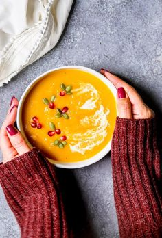 Butternut Squash Beer Soup  Creamy butternut squash soup, flavored with pumpkin beer, green apple, onions and garlic.