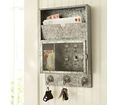 Galvanized Metal Key Cabinet | Pottery Barn (not sold any more).  Have a knock off from a yard sale for $5!!!!