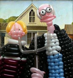 American Gothic , Grant Wood, Oil on Beaver Board, 78 x cm x 25 in.), Signed on man's overalls: GRANT / WOOD / . American Gothic Painting, American Gothic House, Grant Wood American Gothic, American Gothic Parody, Citation Art, Mona Lisa, Famous Artwork, Spencer Tunick, Balloon Animals