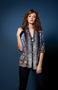 Faux Fur Trim Cardi .... Alberto Makali...SML...$229!  Call To Order  239-403-3550  Email  claudette@petuniasofnaples.com  WWW.PETUNIASOFNAPLES.COM...