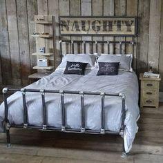 Vintage Industrial Metal Gas Pipe Frame Bed