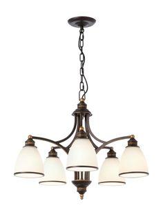CORA Redo- rustik. závesná 5-ram. lampa - čierno-zlatý kov