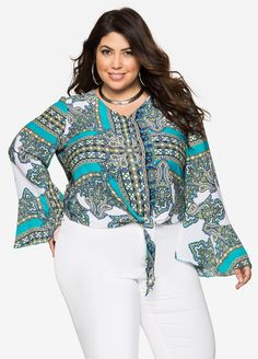 Paisley Tie Front Blouse - Ashley Stewart