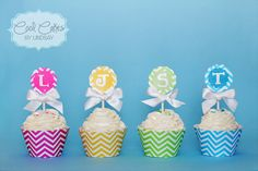 Chevron Cupcakes!  Cute Cupcake Toppers