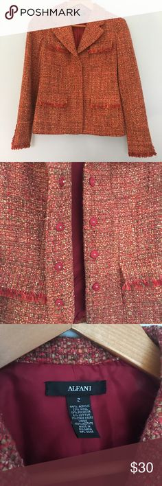Tweed Alfani blazer Look incredibly chic in coppery red orange tweed blazer paired with jeans and boots!  Fringe on end o sleeves and bottom hem. Casual and career appropriate!😊 Alfani Jackets & Coats Blazers