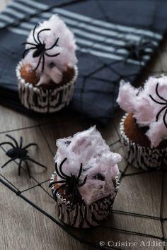 Cupcakes Choco-Coco & Toile d'araignée - Cuisine Addict Halloween Crafts, Cupcakes, Cooking, Mini, Kitchen, Desserts, Recipes, Food, Petit Fours