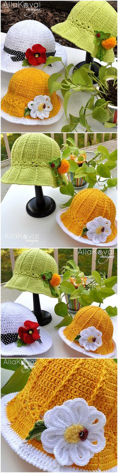 The hats of different colors are shown here, they all are crocheted with light colors and they are perfect for the summer season. The beats are used for adding grace to them and those who are interested in copying them can get the help from the link below.