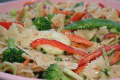 Bow Thai Salad from Food.com:   								Chicken breast pieces and your favorite veggies may be added. But made Vegetarian using just minimal ingredients of pasta, broccoli slaw, carrots, and scallions, this easy salad is incredibly tasty. The dressing is to die for!!