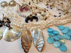 Vintage SHELL Jewelry Lot of 17 Earrings/Necklace/Pendant MOP/Abalone/Puka Retro #Unbranded