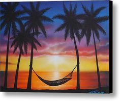 Lifes A Beach Canvas Print Art By Darren Robinson Palm Tree PaintingsSunset