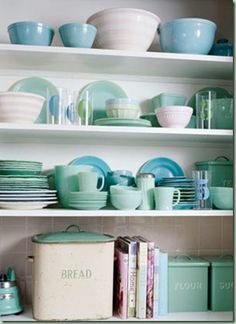 Hutch styling open shelves, vintage dishes, color, blue green, bread boxes, mint, vintage modern, kitchen, open shelving
