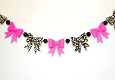 Leopard & Hot Pink//Pom Pom Bow Garland//Party Decor//Bunting. $16.75+ Bow Garland, Leopard Print Baby, 33rd Birthday, Dream Baby, Baby Prints, Bow Ties, Breast Cancer, Super Bowl, First Birthdays