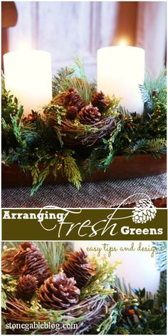 Fresh greens are easy to arrange and keep looking beautiful through the Christmas season. Here's how... (Scroll down a bit).