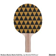 Modern Black, Matte Gold Geometric Triangles Ping Pong Paddle by M to the Fifth Power