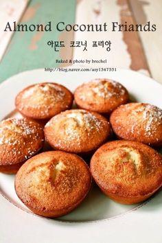아몬드 코코넛 프리앙 (Almond coconut friands) Pretzel Bites, Baked Potato, Almond, Sandwiches, Bakery, Coconut, Sweets, Bread, Homemade