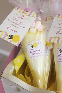The cutest pink lemonade party favors! Perfect for a spring birthday party or shower!