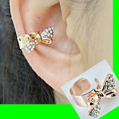 Gold and Rhinestone Bow Ear Cuff (Single, No Piercing)   LilyFair Jewelry, $10.99!