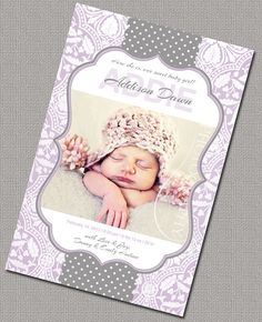 Baby Girl Birth Announcement  Baby Announcement by alittletreasure