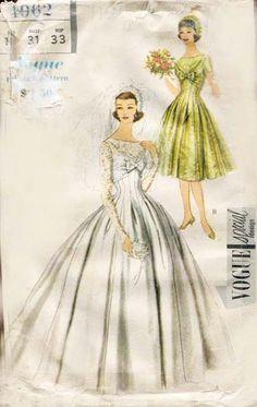 50's Wedding Gown Pattern Vogue Special Design 4962