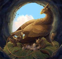 January - Griffon Family by aragornbirdChimera, myth, gryphon mythological chimera,chimera Cute Fantasy Creatures, Animal Art, Fantasy Artwork, Mythical Animal, Fantasy Art, Creature Art, Fantastic Beasts, Fantasy Creatures Art, Dark Art Drawings