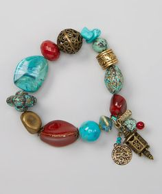Coral & Turquoise Bead Stretch Bracelet