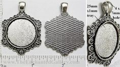 Hexagon snowflake 25mm round pendant tray blank setting bezel 1 inch circle heart scroll jewelry making supplies from The Enchanted Gallery www.TheEnchantedGallery.com